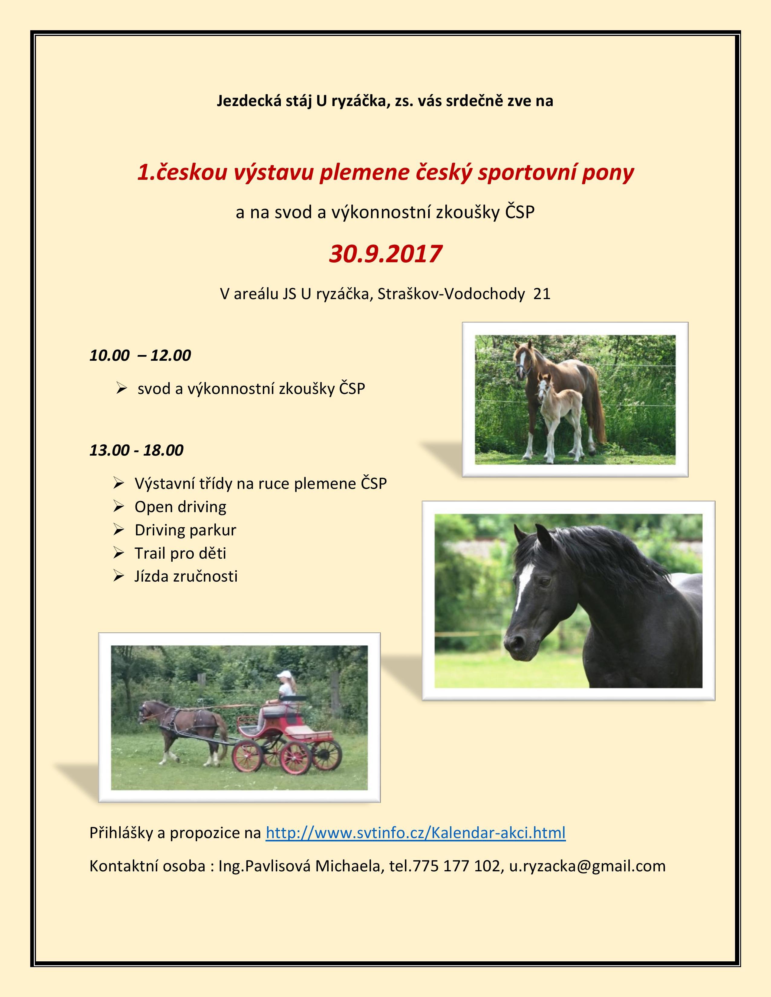 1.česká výstava plemene český sportovní pony 2017